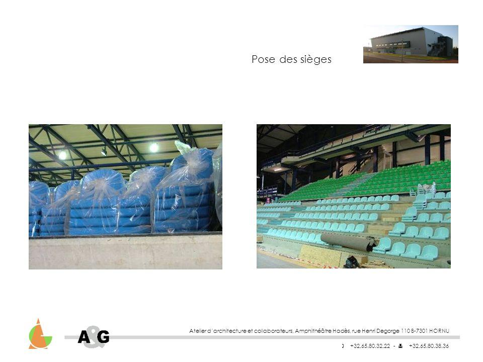 Pose des sièges Atelier d'architecture et collaborateurs, Amphithéâtre Hadès, rue Henri Degorge 110 B-7301 HORNU.
