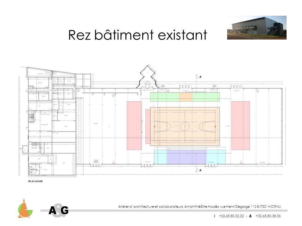 Rez bâtiment existant Atelier d'architecture et collaborateurs, Amphithéâtre Hadès, rue Henri Degorge 110 B-7301 HORNU.