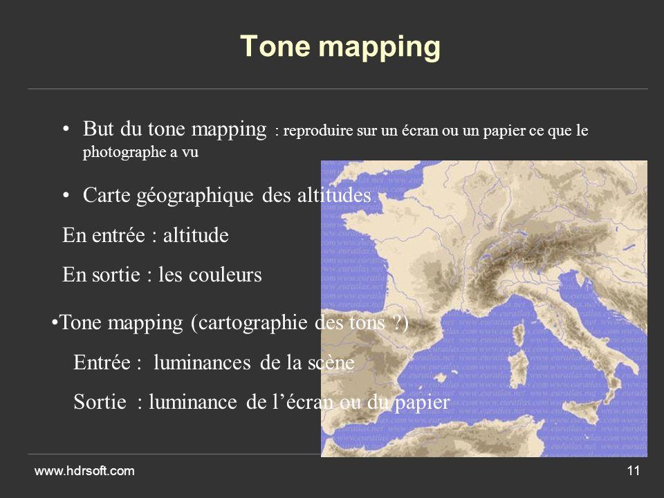 Tone mapping But du tone mapping : reproduire sur un écran ou un papier ce que le photographe a vu.