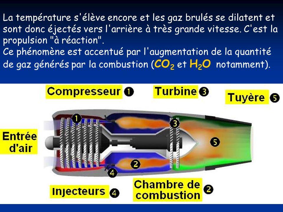 La température s élève encore et les gaz brulés se dilatent et sont donc éjectés vers l arrière à très grande vitesse. C est la propulsion à réaction .