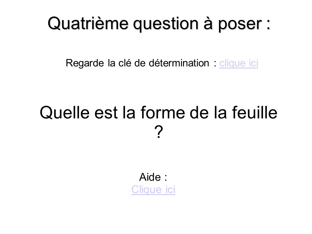 Quatrième question à poser :
