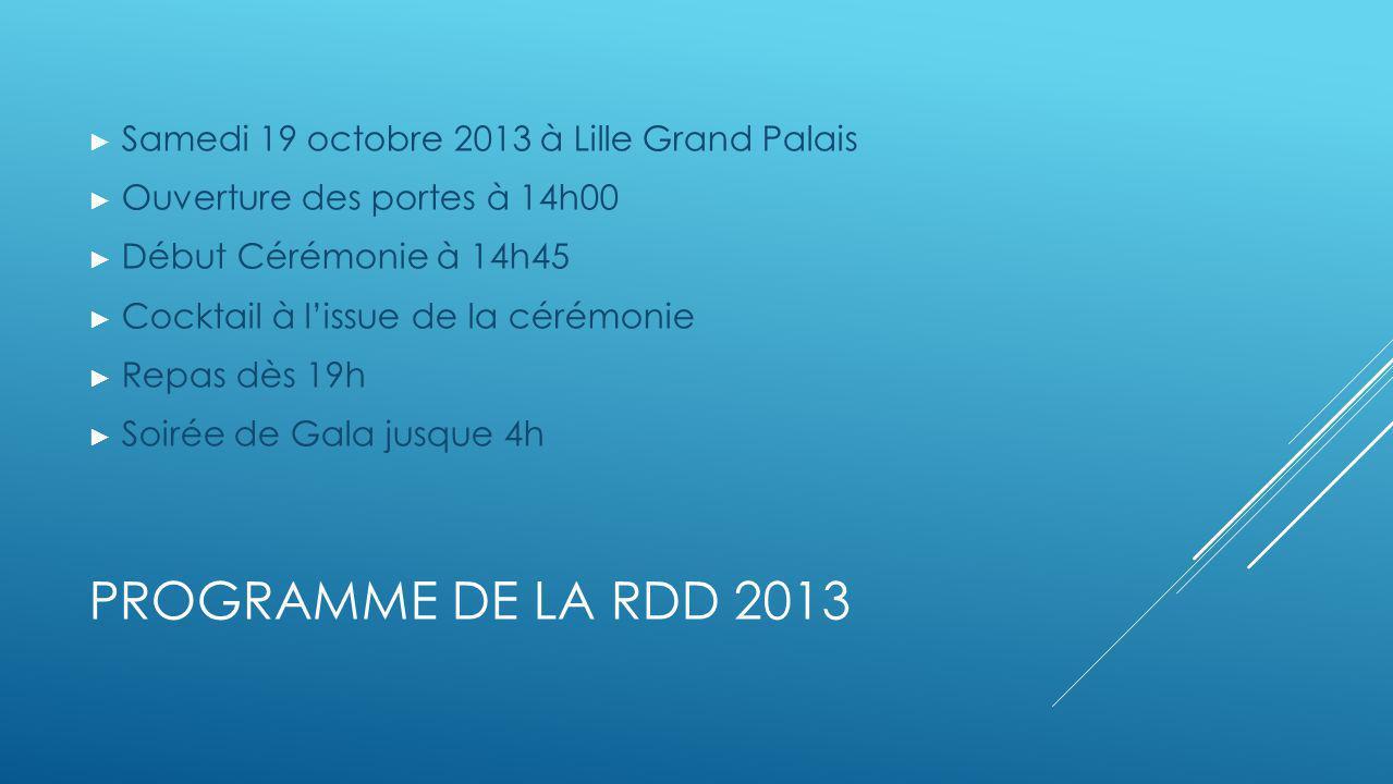 PROGRAMME DE LA RDD 2013 Samedi 19 octobre 2013 à Lille Grand Palais