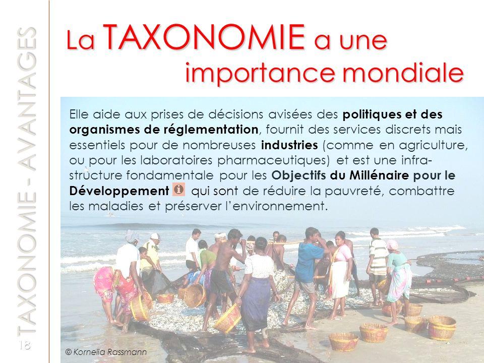 La TAXONOMIE a une importance mondiale