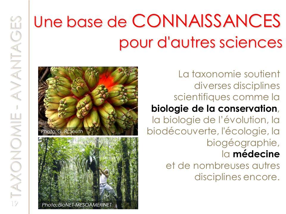 Une base de CONNAISSANCES pour d autres sciences