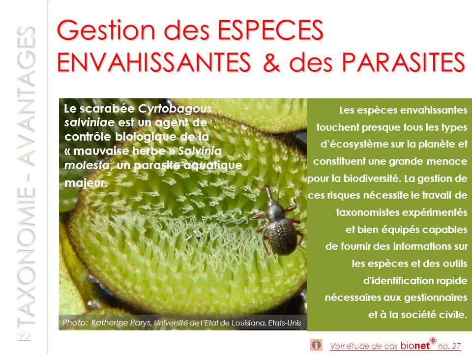 Gestion des ESPECES ENVAHISSANTES & des PARASITES