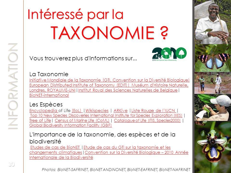 Intéressé par la TAXONOMIE