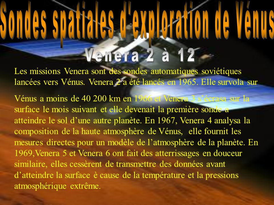 Sondes spatiales d exploration de Vénus