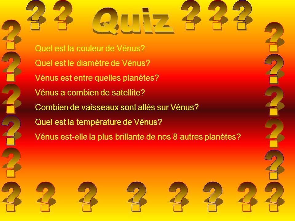 Quiz. Quel est la couleur de Vénus Quel est le diamètre de Vénus Vénus est entre quelles planètes
