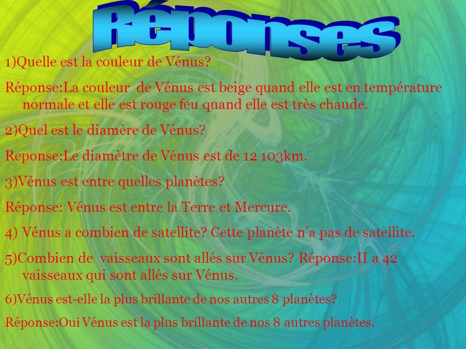 Réponses 1)Quelle est la couleur de Vénus