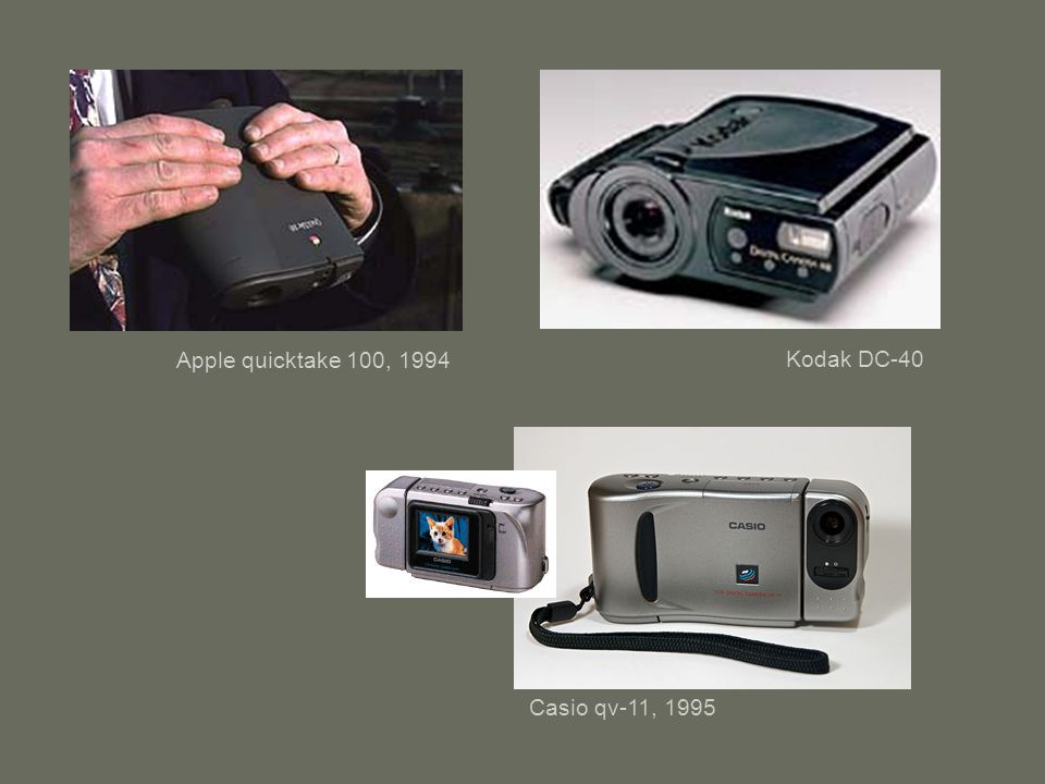 Apple quicktake 100, 1994 Kodak DC-40 Casio qv-11, 1995
