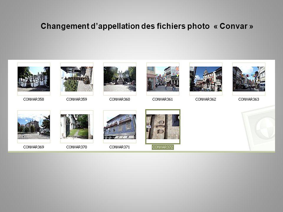 Changement d'appellation des fichiers photo « Convar »