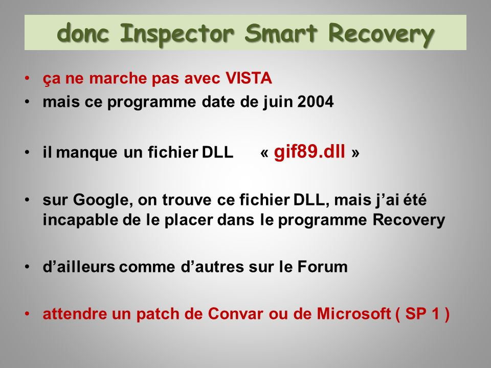donc Inspector Smart Recovery
