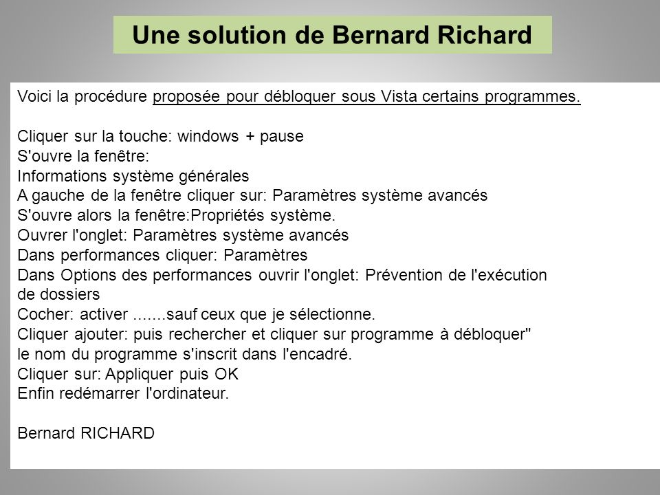 Une solution de Bernard Richard