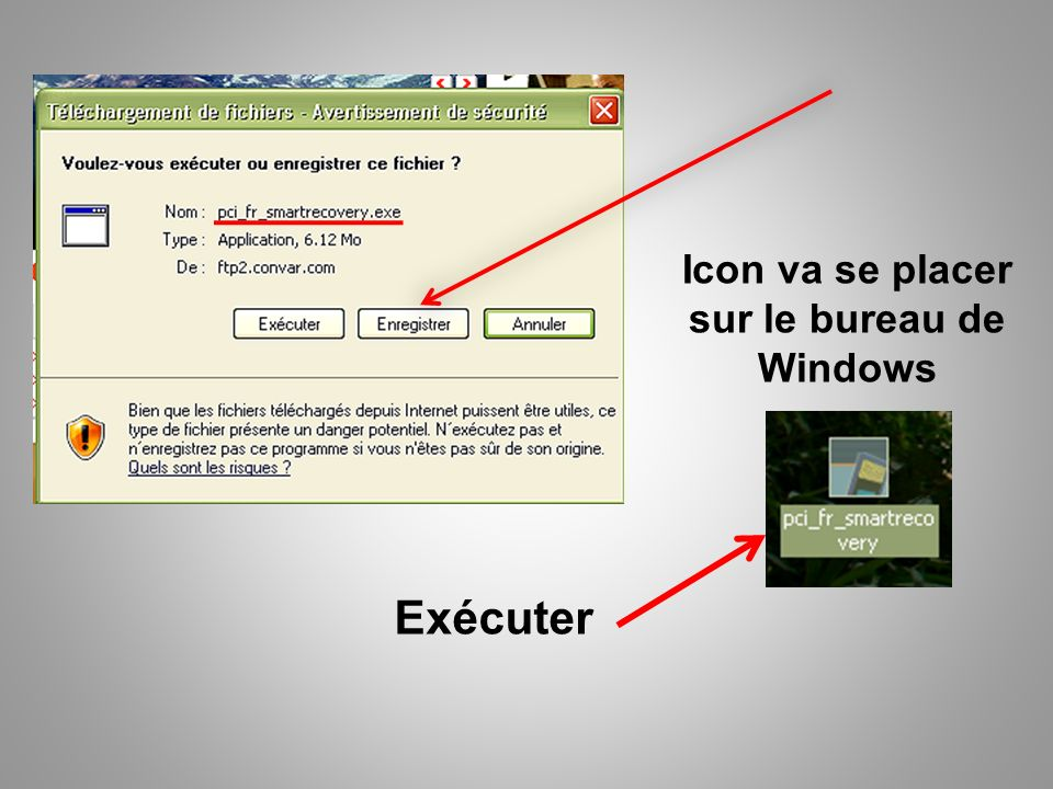 Icon va se placer sur le bureau de Windows