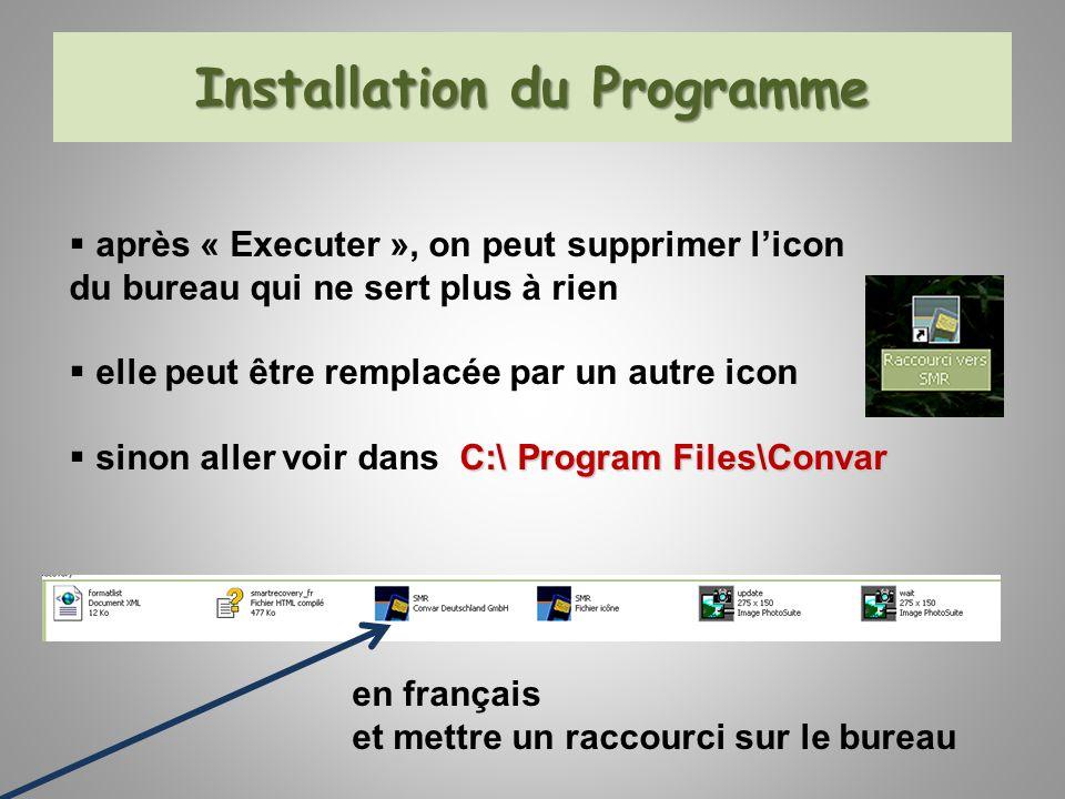 Installation du Programme