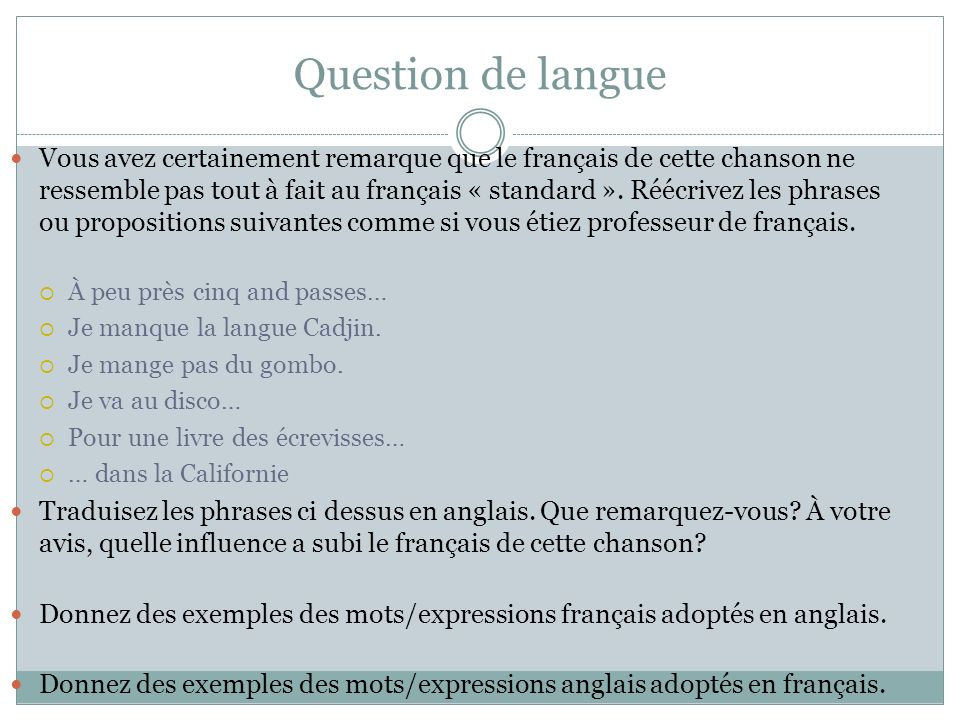 Question de langue