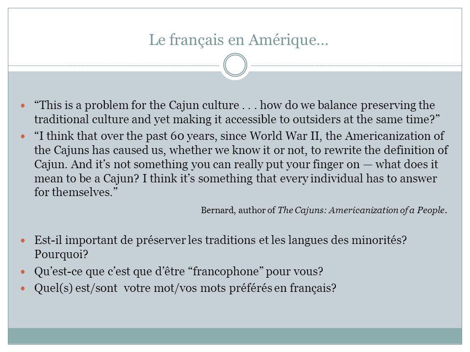 Le français en Amérique…