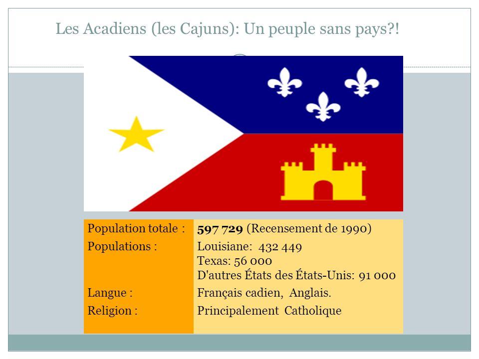 Les Acadiens (les Cajuns): Un peuple sans pays !
