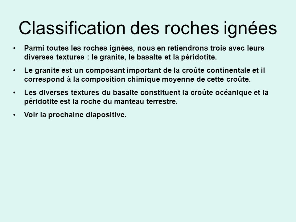 Classification des roches ignées