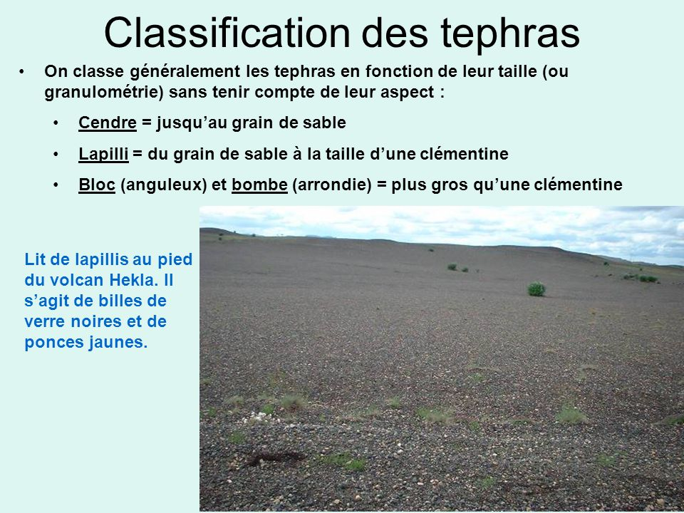 Classification des tephras