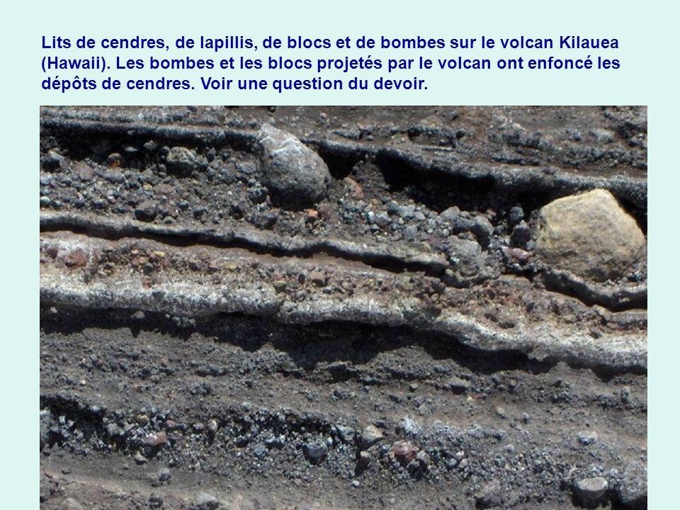 Lits de cendres, de lapillis, de blocs et de bombes sur le volcan Kilauea (Hawaii).