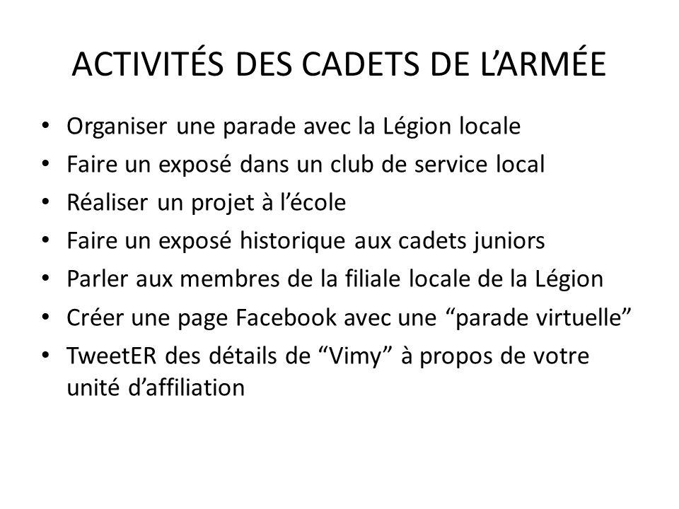 ACTIVITÉS DES CADETS DE L'ARMÉE