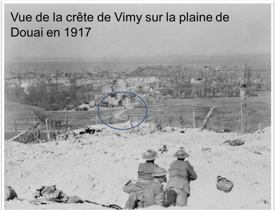 Vue de la crête de Vimy sur la plaine de Douai en 1917