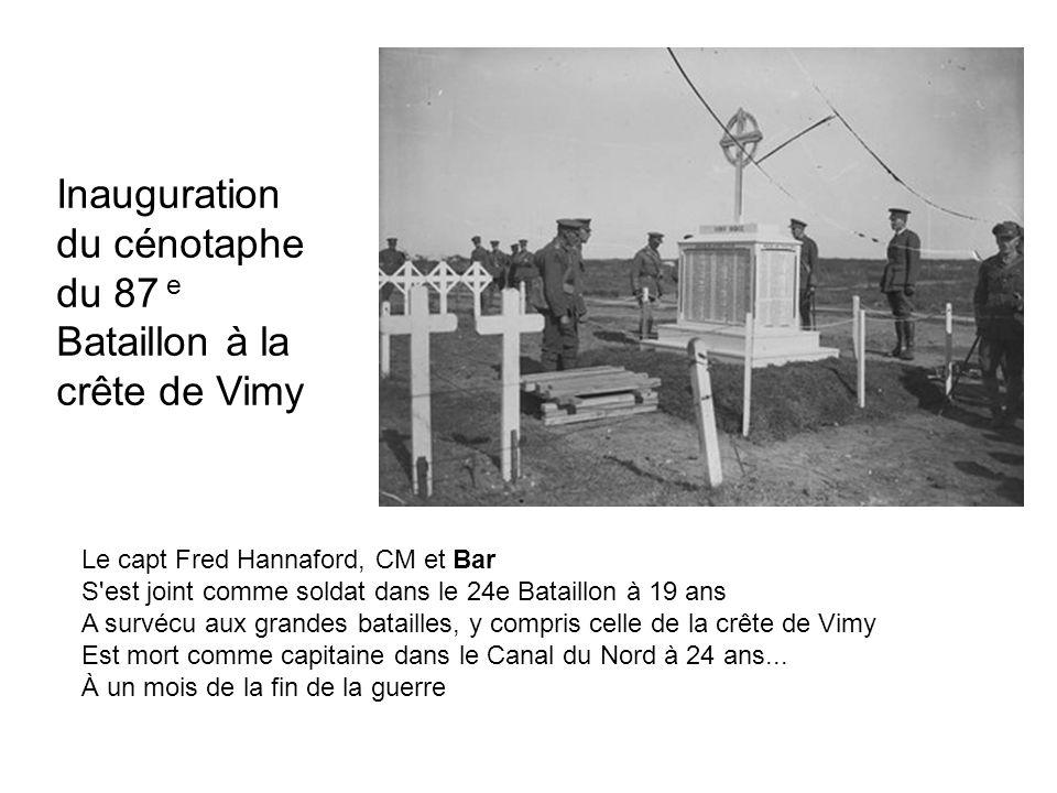 Inauguration du cénotaphe du 87 e Bataillon à la crête de Vimy