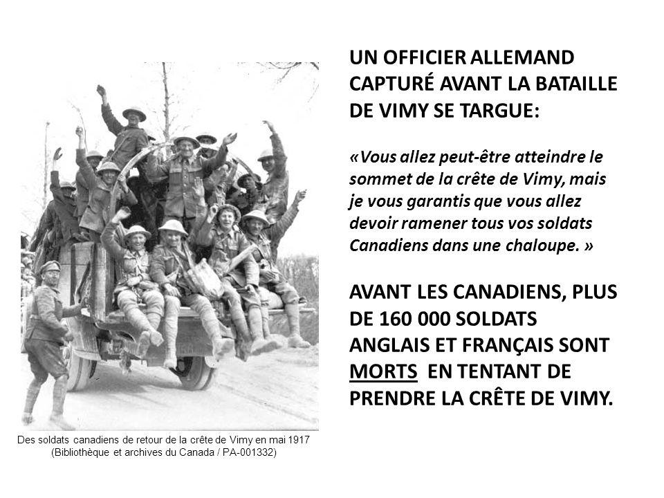 UN OFFICIER ALLEMAND CAPTURÉ AVANT LA BATAILLE DE VIMY SE TARGUE: