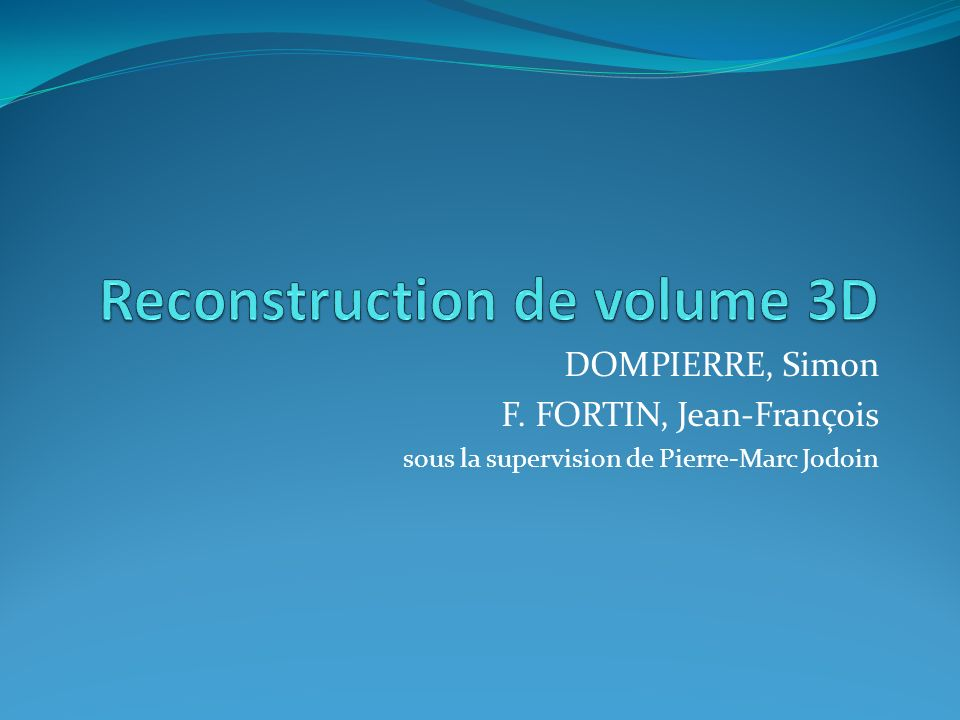 Reconstruction de volume 3D