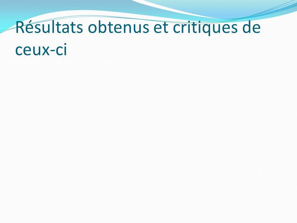 Résultats obtenus et critiques de ceux-ci