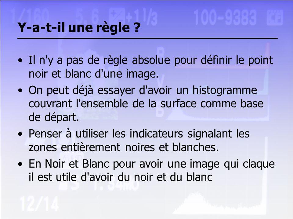Y-a-t-il une règle Il n y a pas de règle absolue pour définir le point noir et blanc d une image.