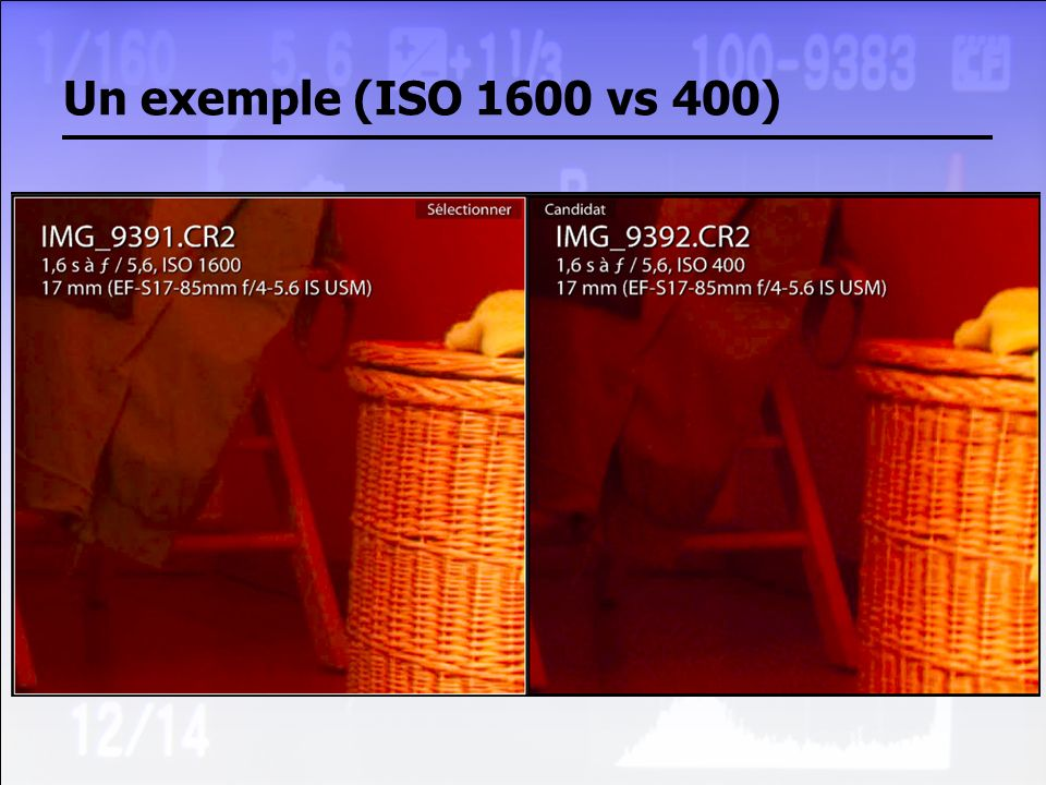 Un exemple (ISO 1600 vs 400)
