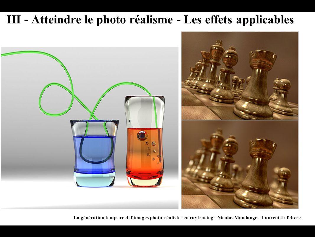 III - Atteindre le photo réalisme - Les effets applicables