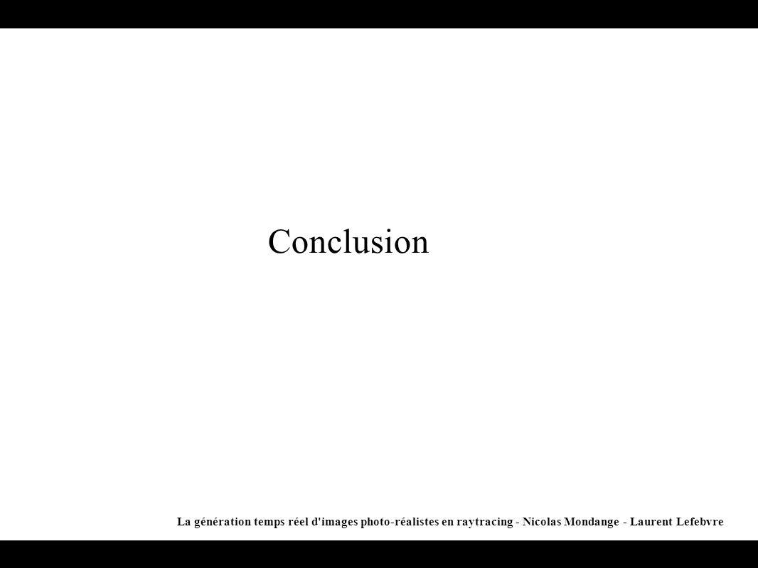 Conclusion La génération temps réel d images photo-réalistes en raytracing - Nicolas Mondange - Laurent Lefebvre.