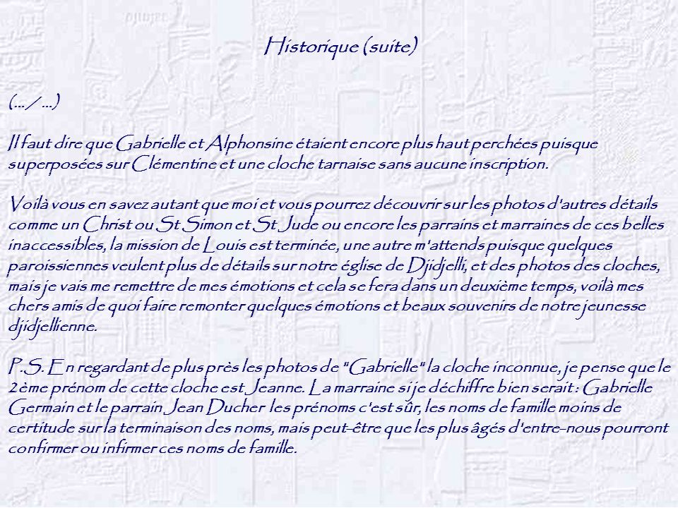 Historique (suite) (… / …)