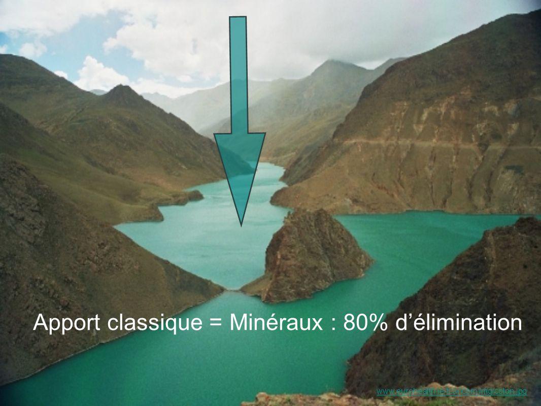 Apport classique = Minéraux : 80% d'élimination