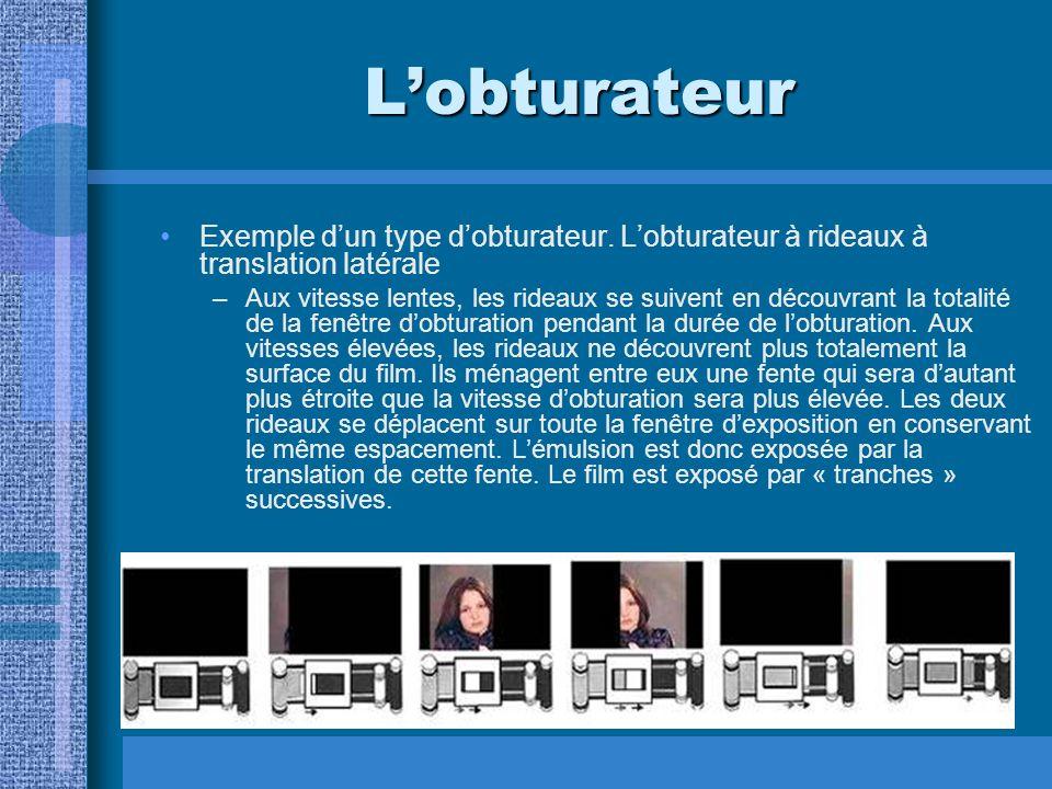 L'obturateur Exemple d'un type d'obturateur. L'obturateur à rideaux à translation latérale.