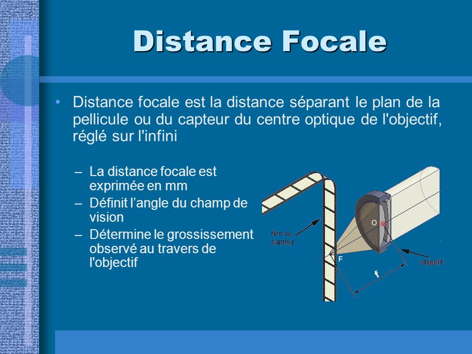 Distance Focale Distance focale est la distance séparant le plan de la pellicule ou du capteur du centre optique de l objectif, réglé sur l infini.
