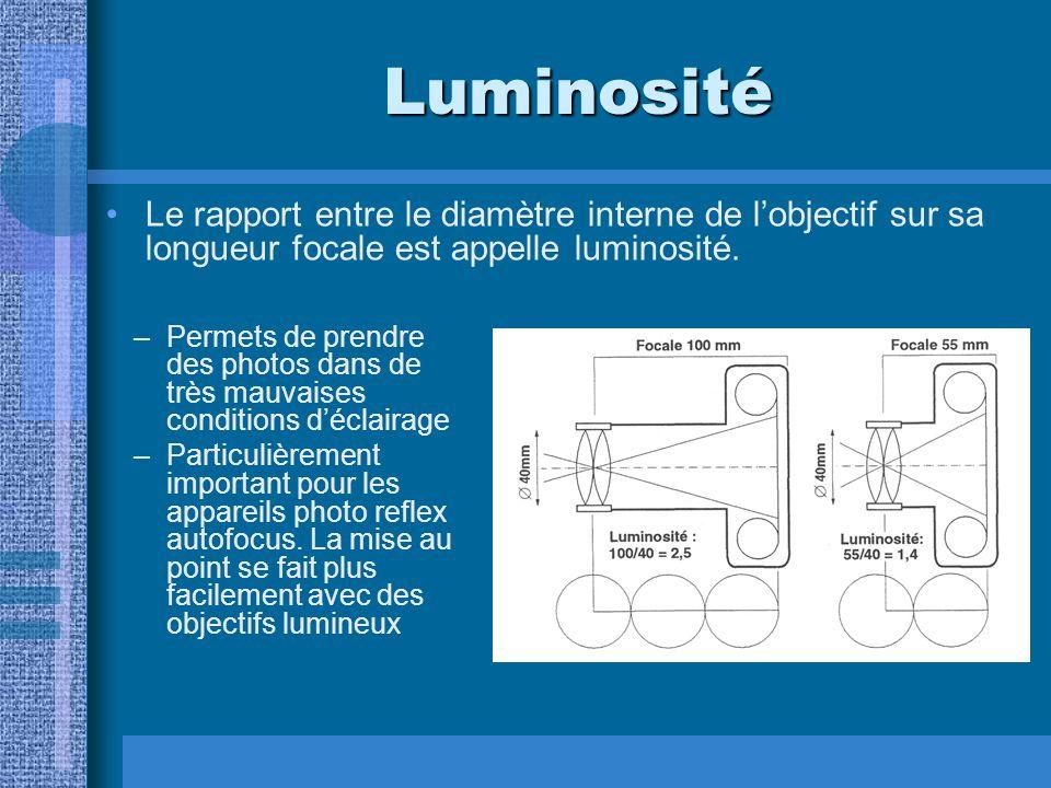 Luminosité Le rapport entre le diamètre interne de l'objectif sur sa longueur focale est appelle luminosité.