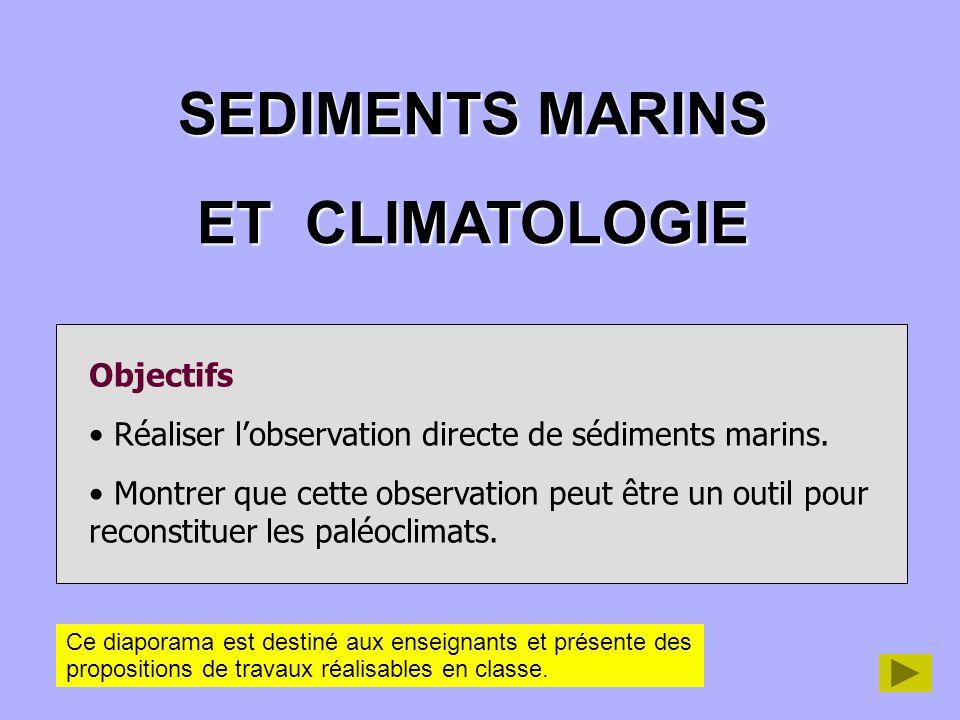 SEDIMENTS MARINS ET CLIMATOLOGIE