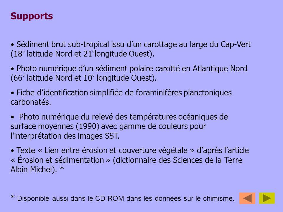 Supports Sédiment brut sub-tropical issu d'un carottage au large du Cap-Vert (18° latitude Nord et 21°longitude Ouest).