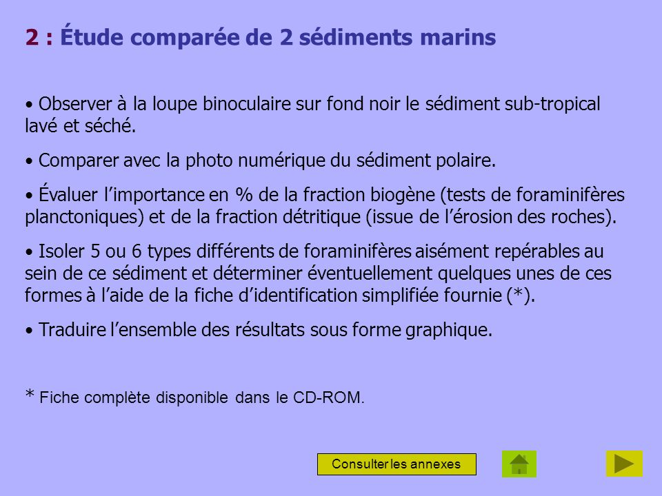 2 : Étude comparée de 2 sédiments marins