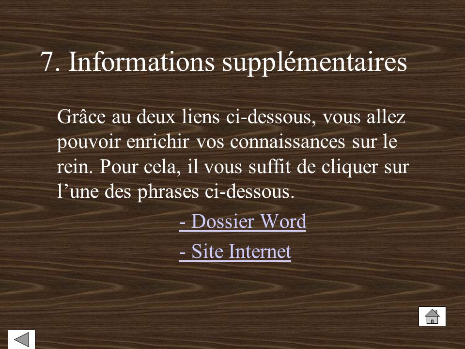 7. Informations supplémentaires