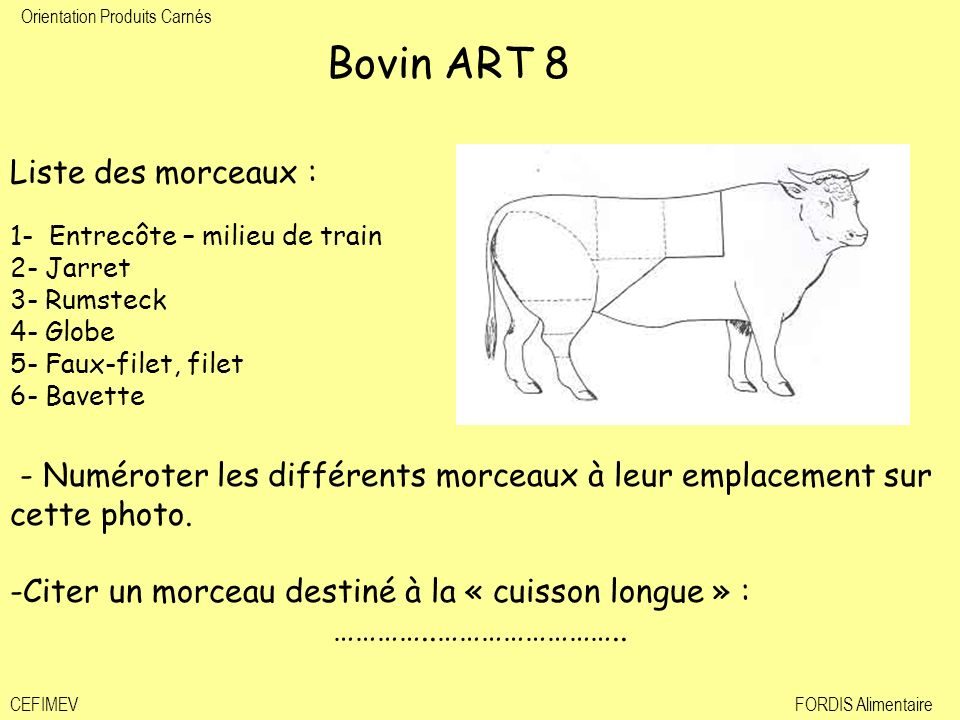 Bovin ART 8 Liste des morceaux : 1- Entrecôte – milieu de train. 2- Jarret. 3- Rumsteck. 4- Globe.