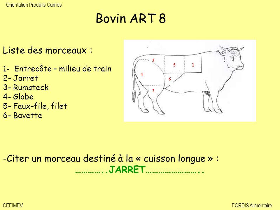 Bovin ART 8 Liste des morceaux : 1- Entrecôte – milieu de train