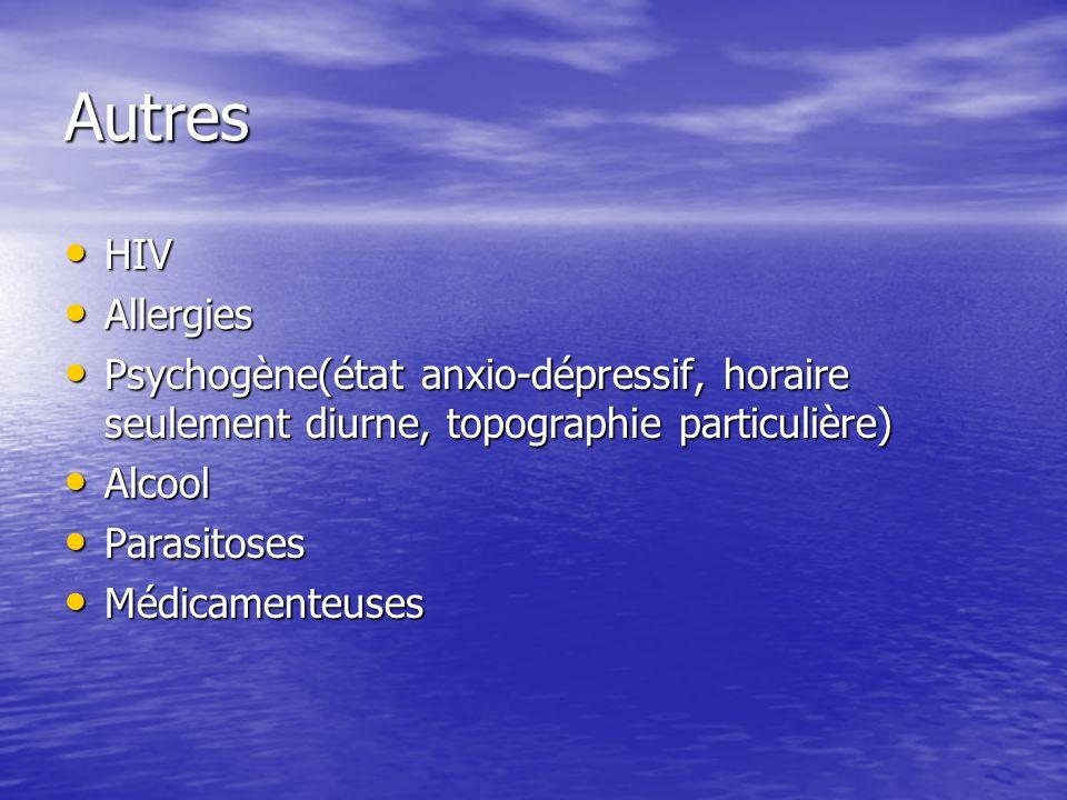 Autres HIV. Allergies. Psychogène(état anxio-dépressif, horaire seulement diurne, topographie particulière)