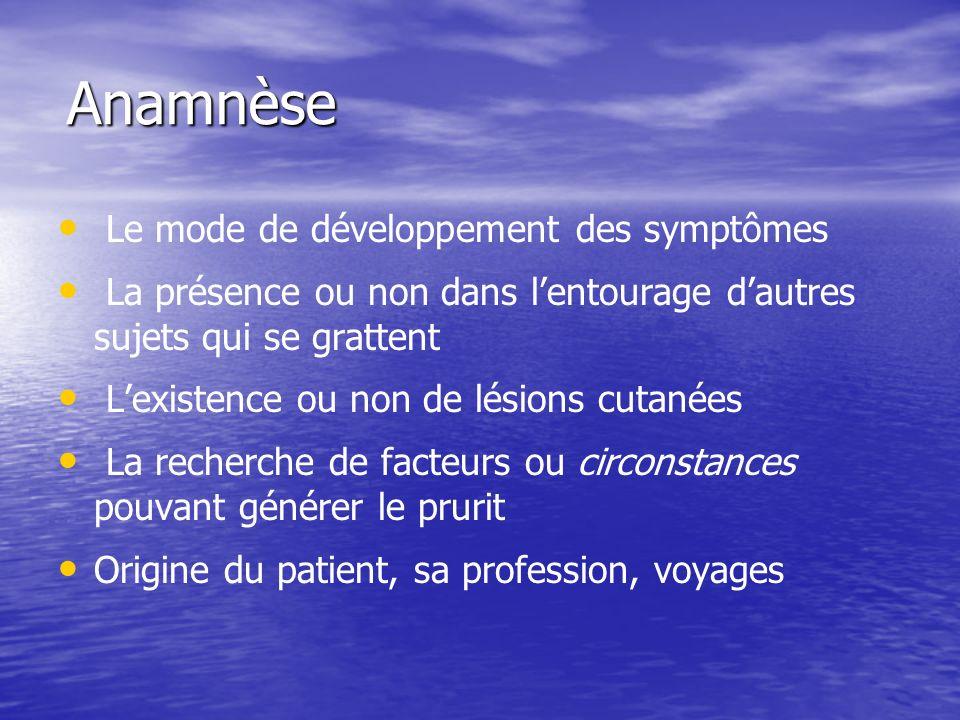 Anamnèse Le mode de développement des symptômes