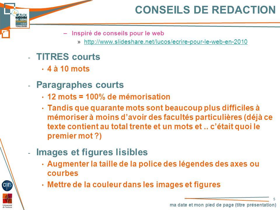 CONSEILS DE REDACTION TITRES courts Paragraphes courts