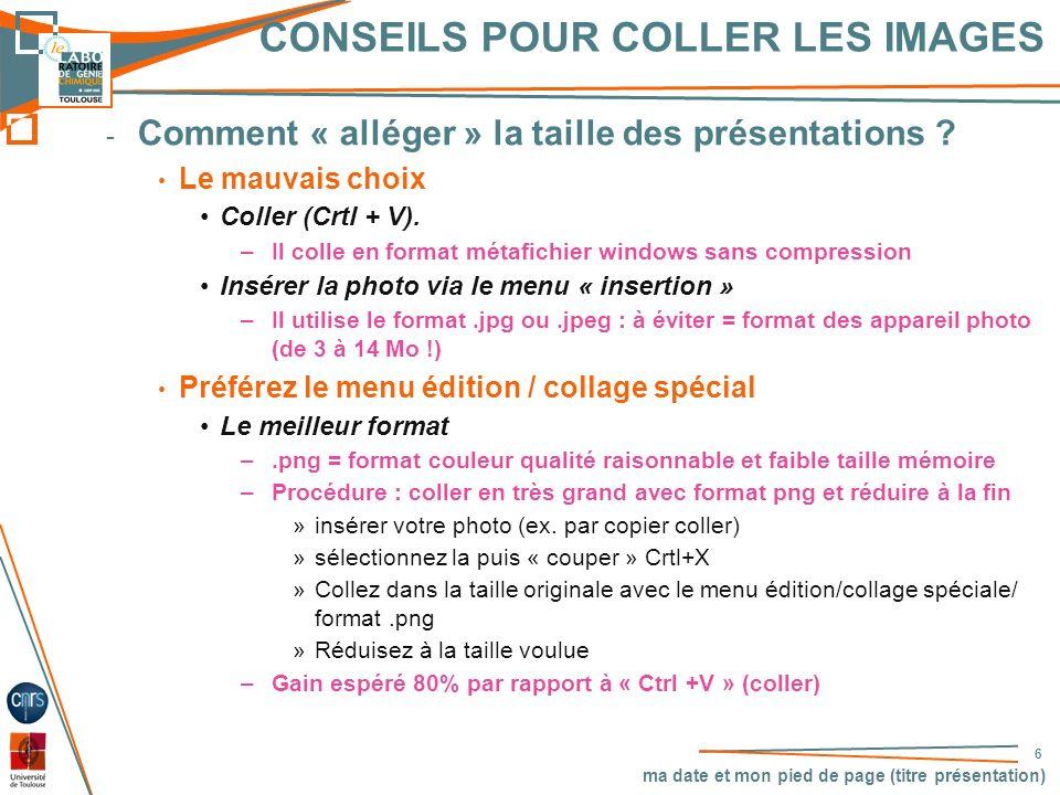CONSEILS POUR COLLER LES IMAGES